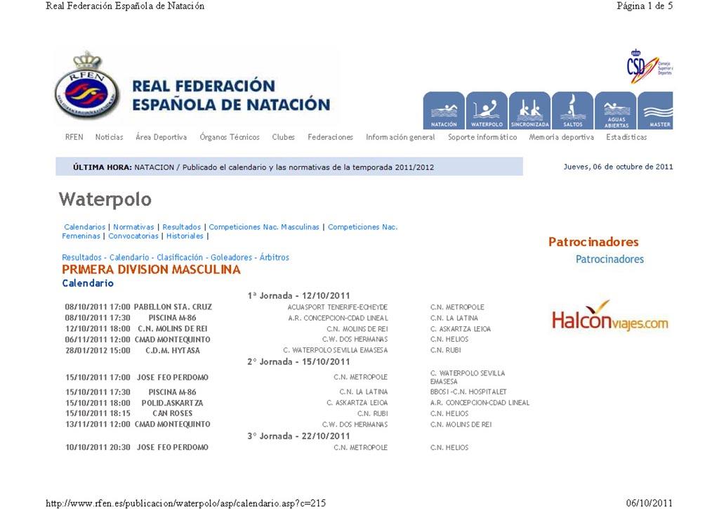 Calendario Primera Nacional Masculina 2011 / 2012