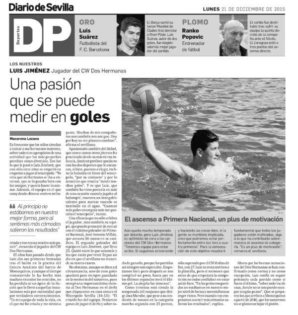 Diario de Sevilla / Luis Jiménez, una pasión que se puede medir en goles