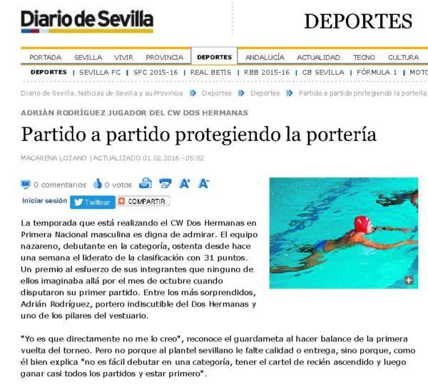 Diario de Sevilla / Adrián Rodríguez, partido a partido protegiendo la portería
