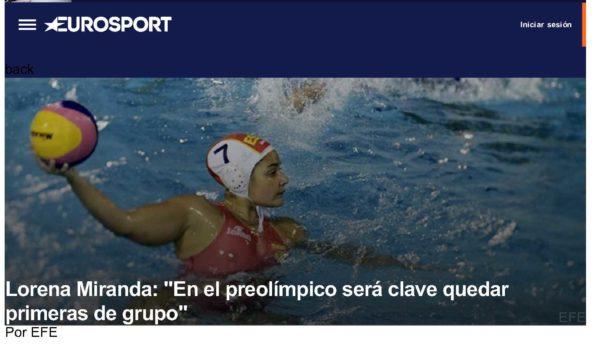 """Eurosport – Agencia EFE / Lorena Miranda: """"En el Preolímpico será clave quedar primeras de grupo"""""""